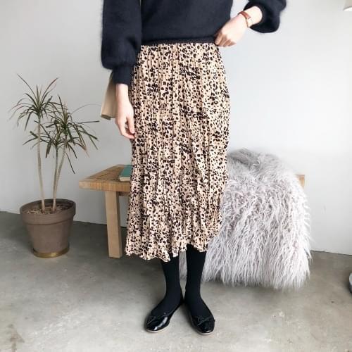 Jasmine leopard wrinkle skirt