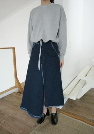 unblance cutting denim skirt