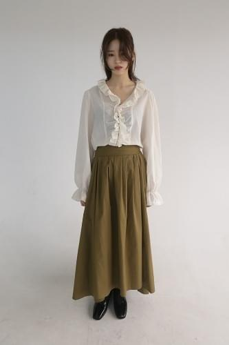 ribbon strap long skirt (2colors)