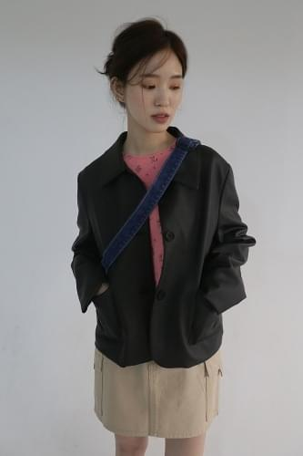simple leather jacket (2colors)