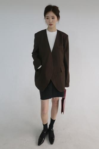 non-collar stripe jacket (2colors)