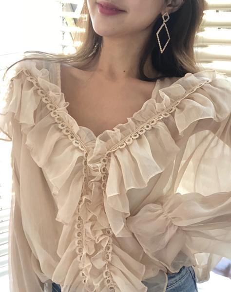 Glitter frill blouse