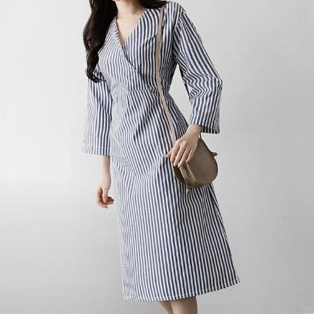 Striped Wrap Long Dress