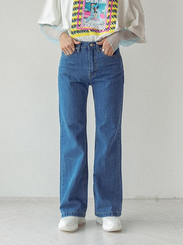 Mix boots cut denim pants