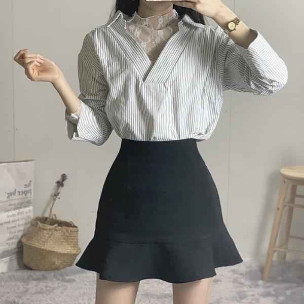 Lace check lace collar shirt