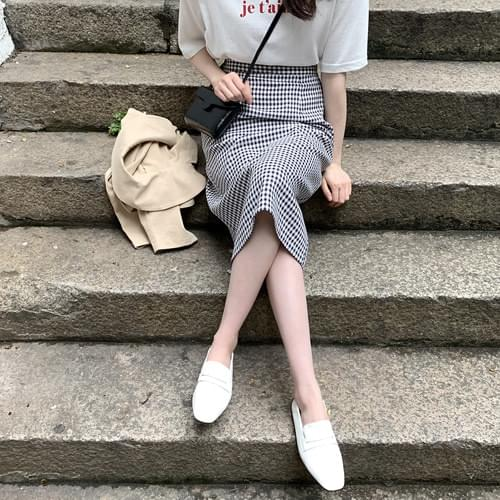 Flow check long skirt