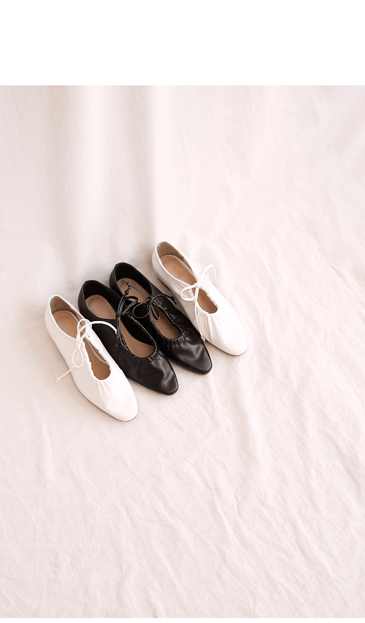 RAIL STRING LEATHER FLAT SHOES