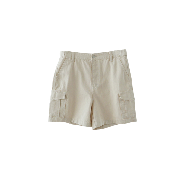 two button cargo half pants