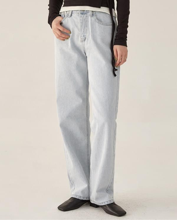 fresh light color denim pants (s, m)