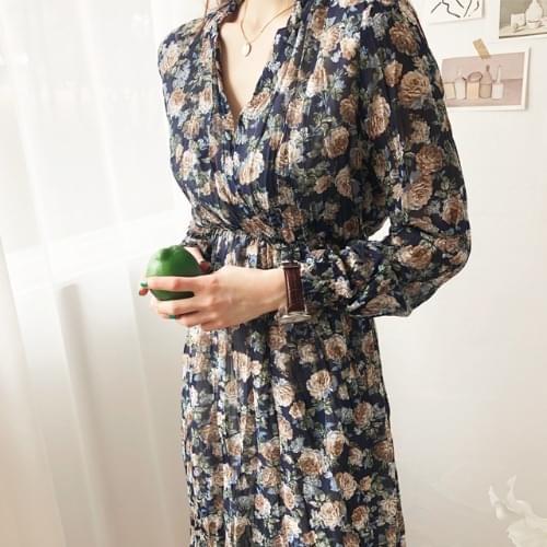 Blooming chiffon long dress