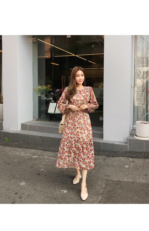 Lady Frilly Flower Chiffon Dress