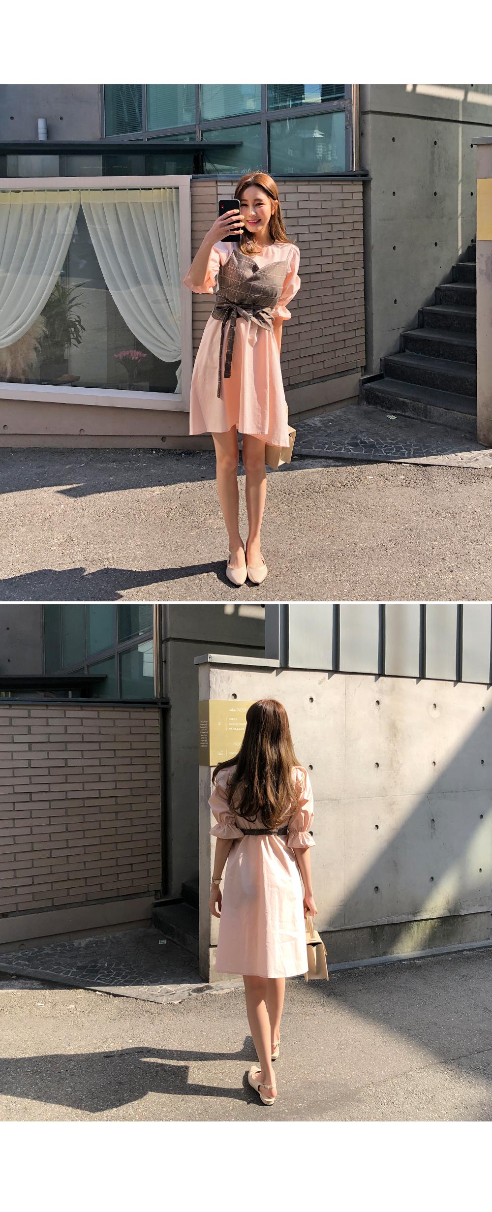 Yuzu check wrap dress