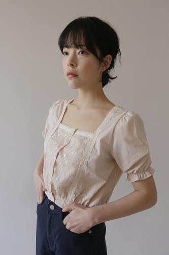 beige square neck blouse