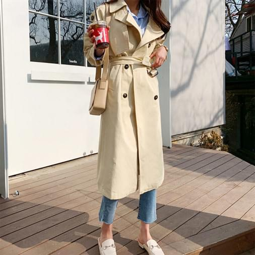 Double change long trench coat