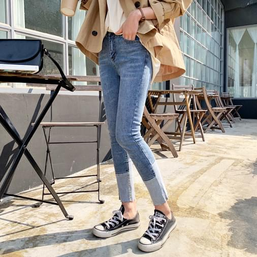 Two-tone short-sleeved denim pants