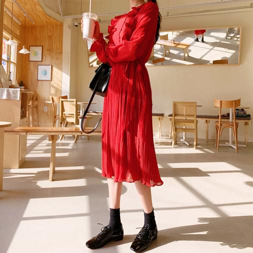 Red Dot Pleated Long Dress