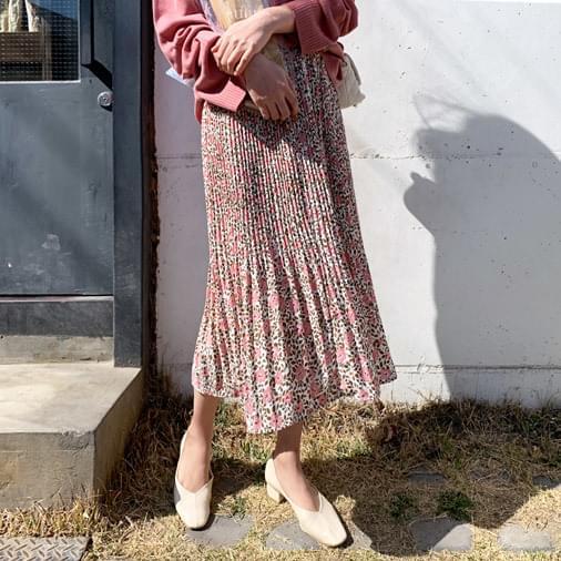 Pink Flower Pleated Long Skirt