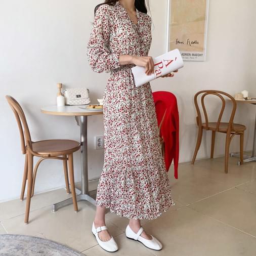Cherry flower winkle long dress