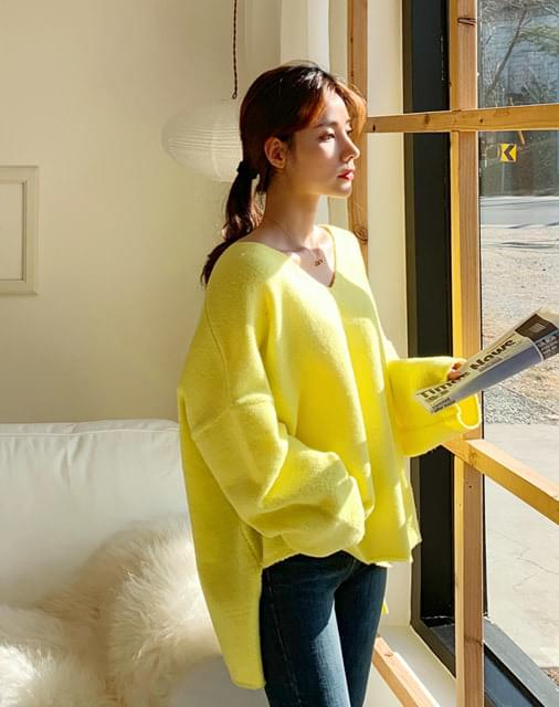 Cheese Overfit V Neck Knit