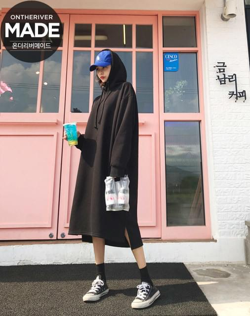 Woopla gum long hood - overfit long hoodie