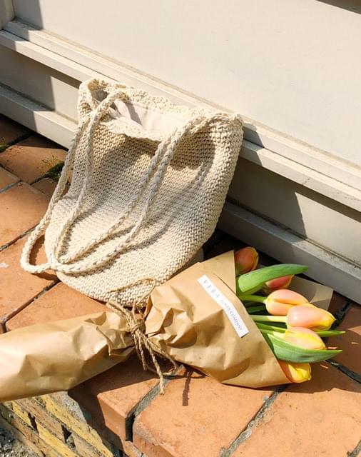 Summer knit rattan bag
