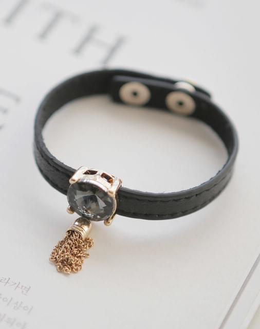 Jewel Poin Leather Bangle