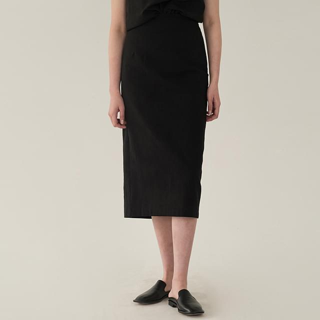 cozy banding slit long skirt