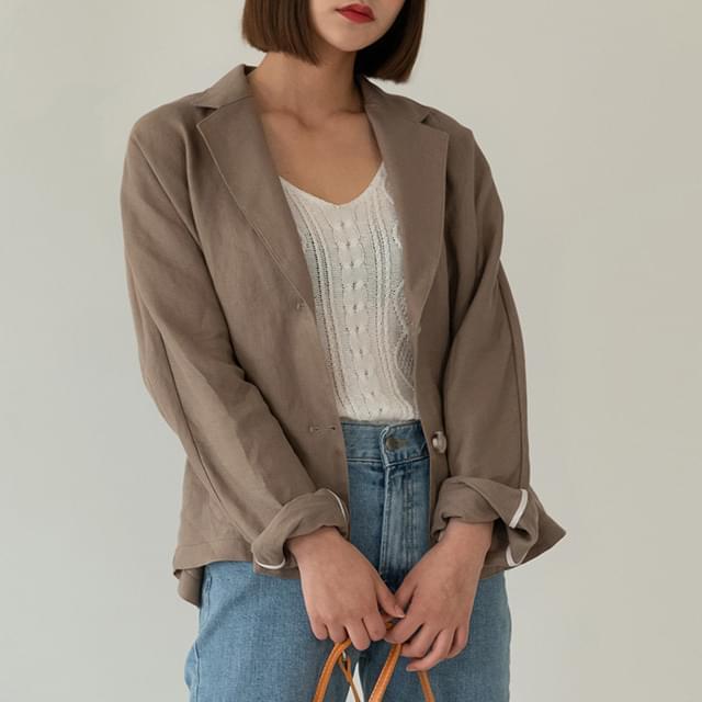 Nagran sleeve loose-fit linen jacket