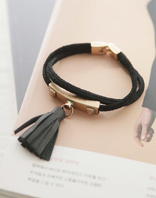 Tassel Decorative Leather Bracelet