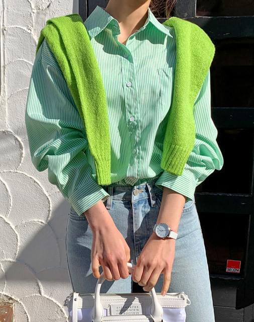Green green stripe shirt