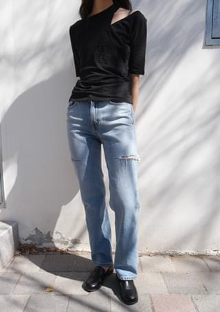side slit straight denim