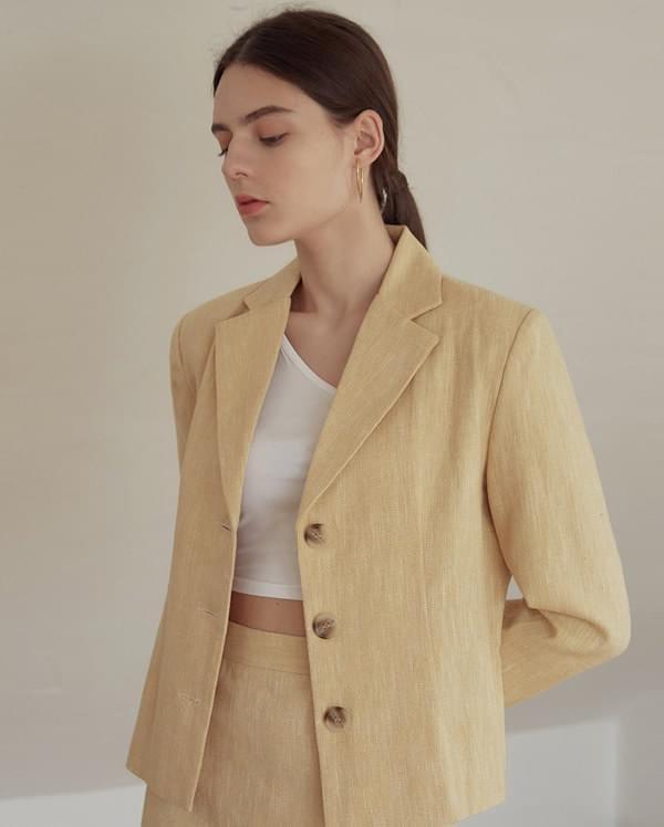apron herringbone linen short jacket 夾克外套