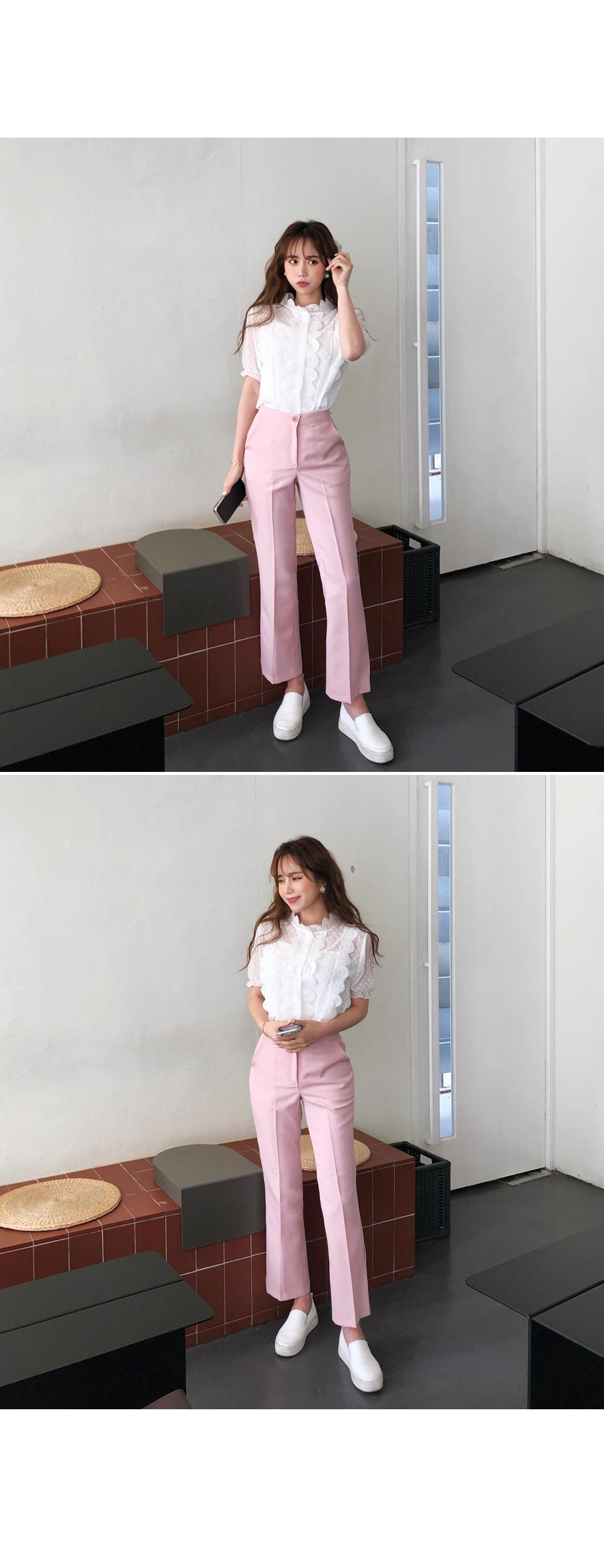 Dot lace blouse + sleeveless SET