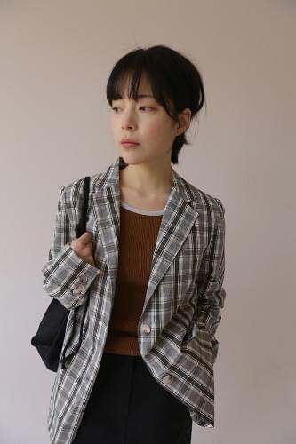 marking check jacket (gray)