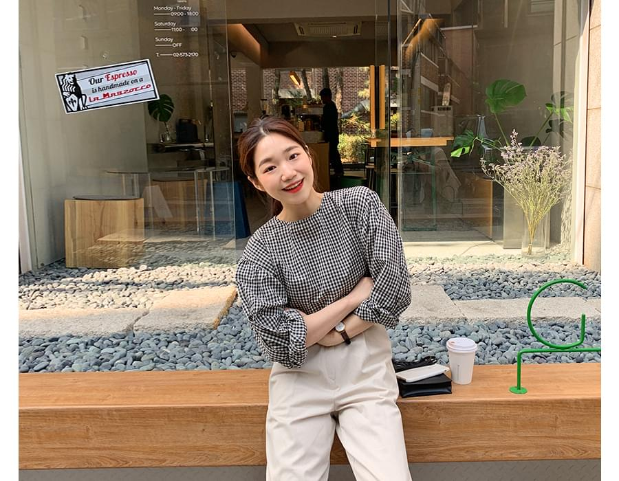 Youth check balloon blouse_S