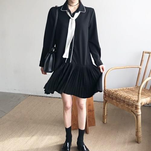 Black Pleat Mini Dress