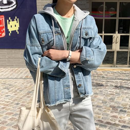 Light hooded denim jacket