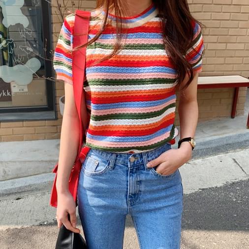 Rainbow short sleeve knit