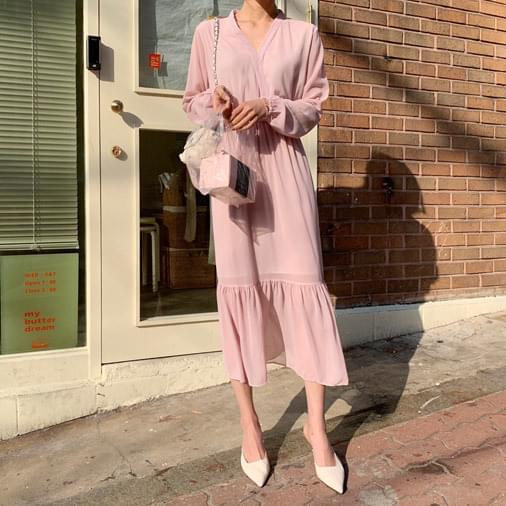 Pink Chiffon Frill Long Dress