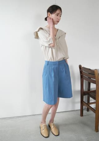 sailor collar half sleeve blouse