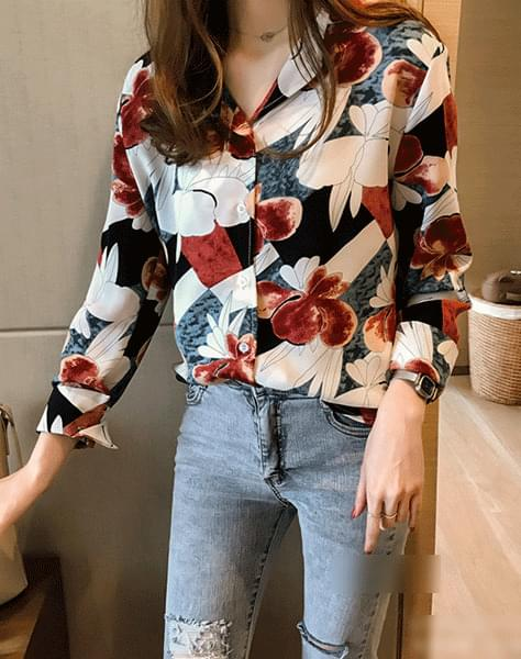Color pop sleeves shirt