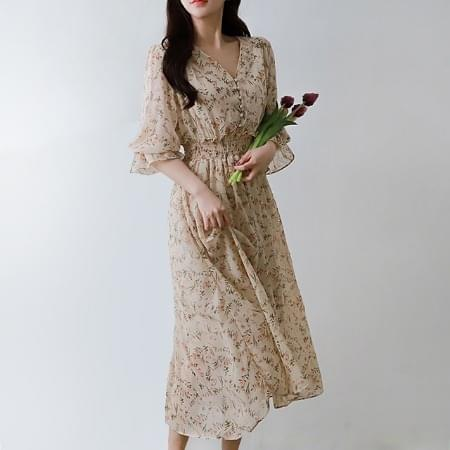 Chiffon Long Dress V Neck