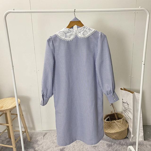Blue Marine Carr race pearl long dress