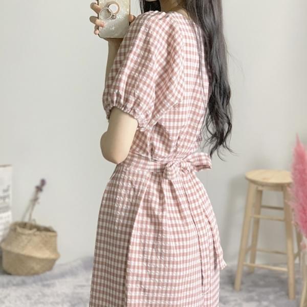 Kero Check Square Balloon Long Dress