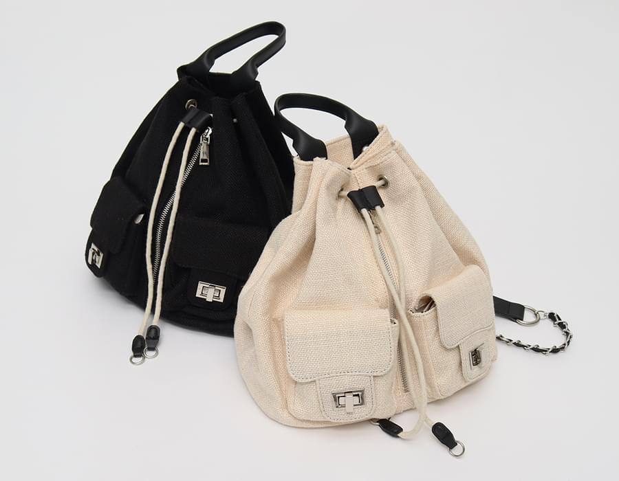 chain cotton backpack_B
