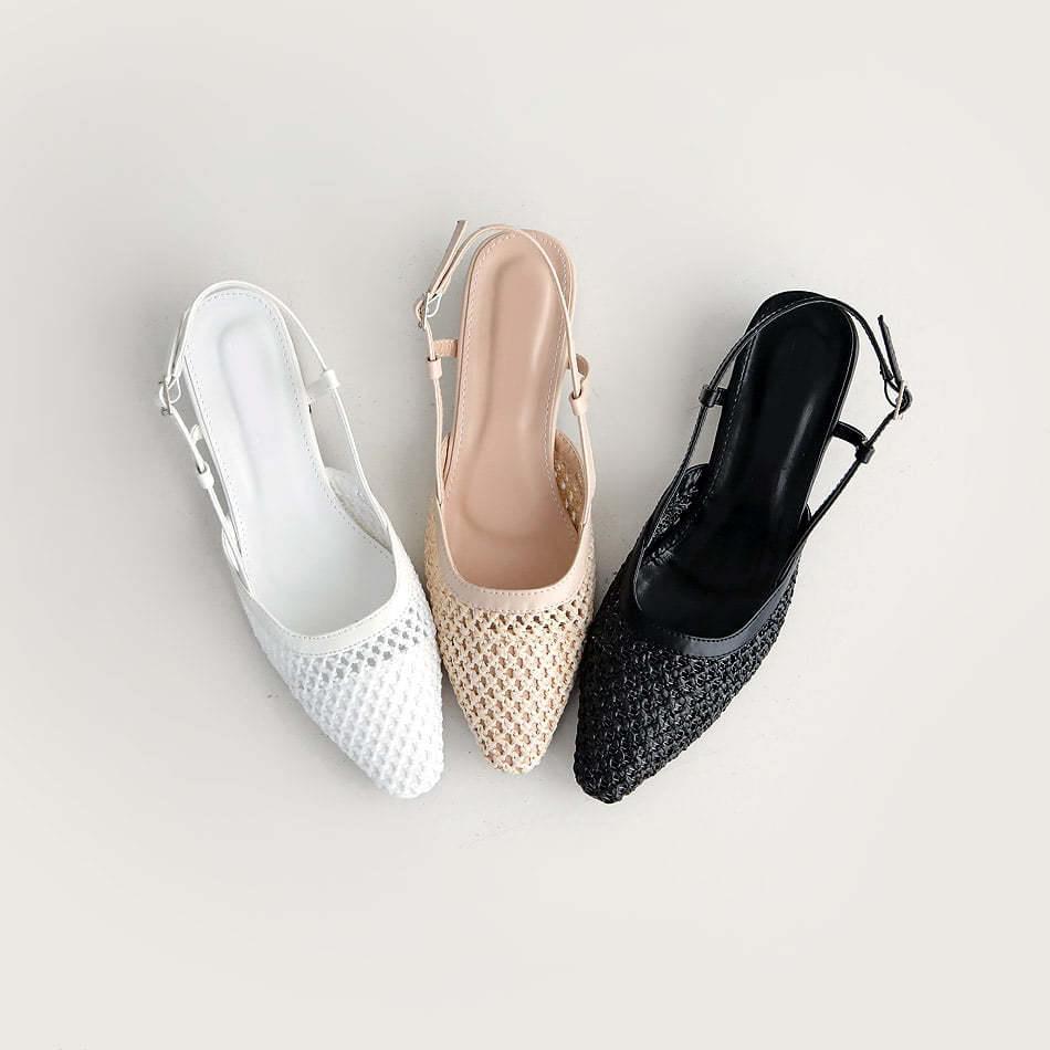 Casters Slingback Flat Shoes 3.5cm
