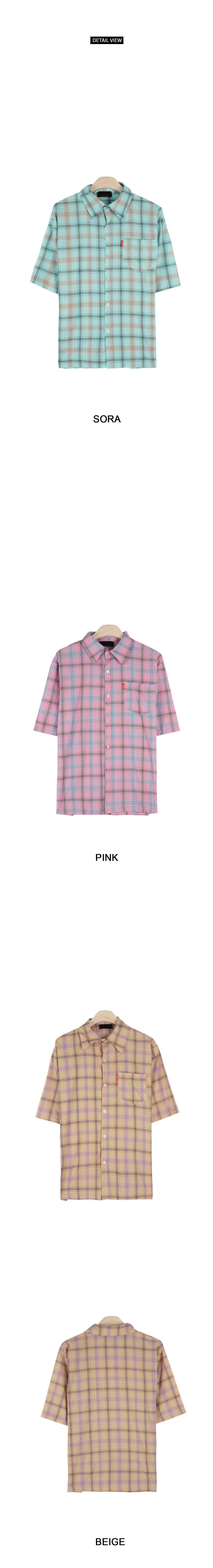 Macaron check short-sleeved shirt