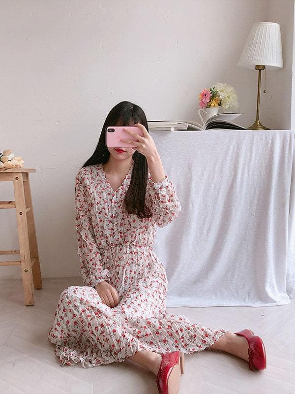 Rose V-neck long dress