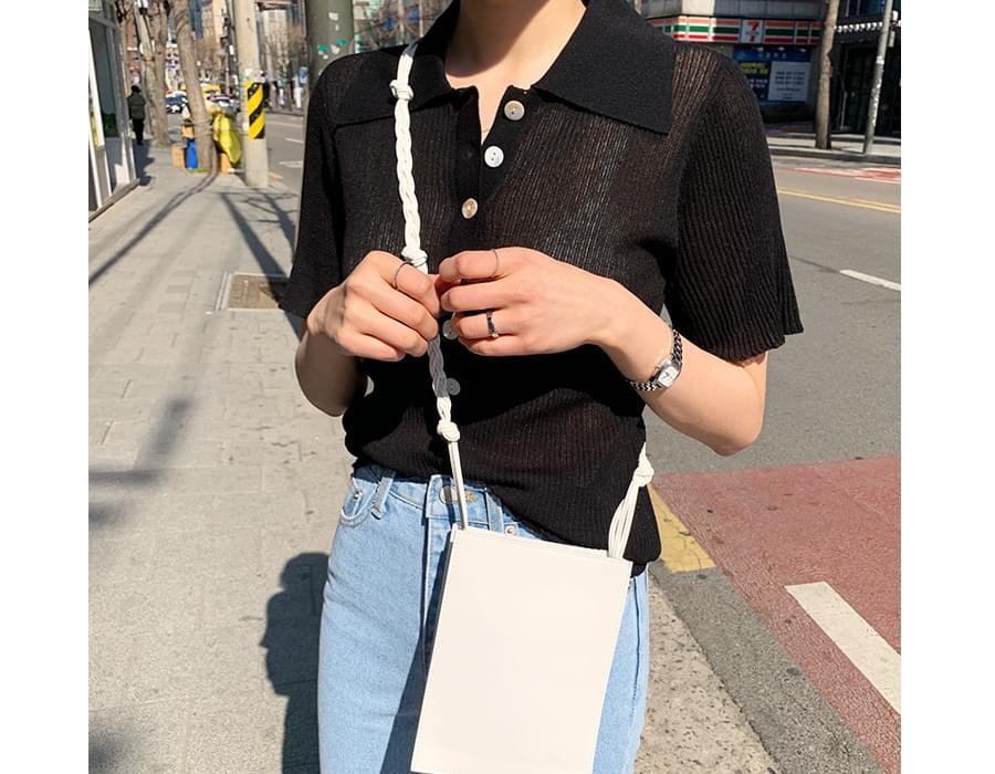 Wide collar button knit_K