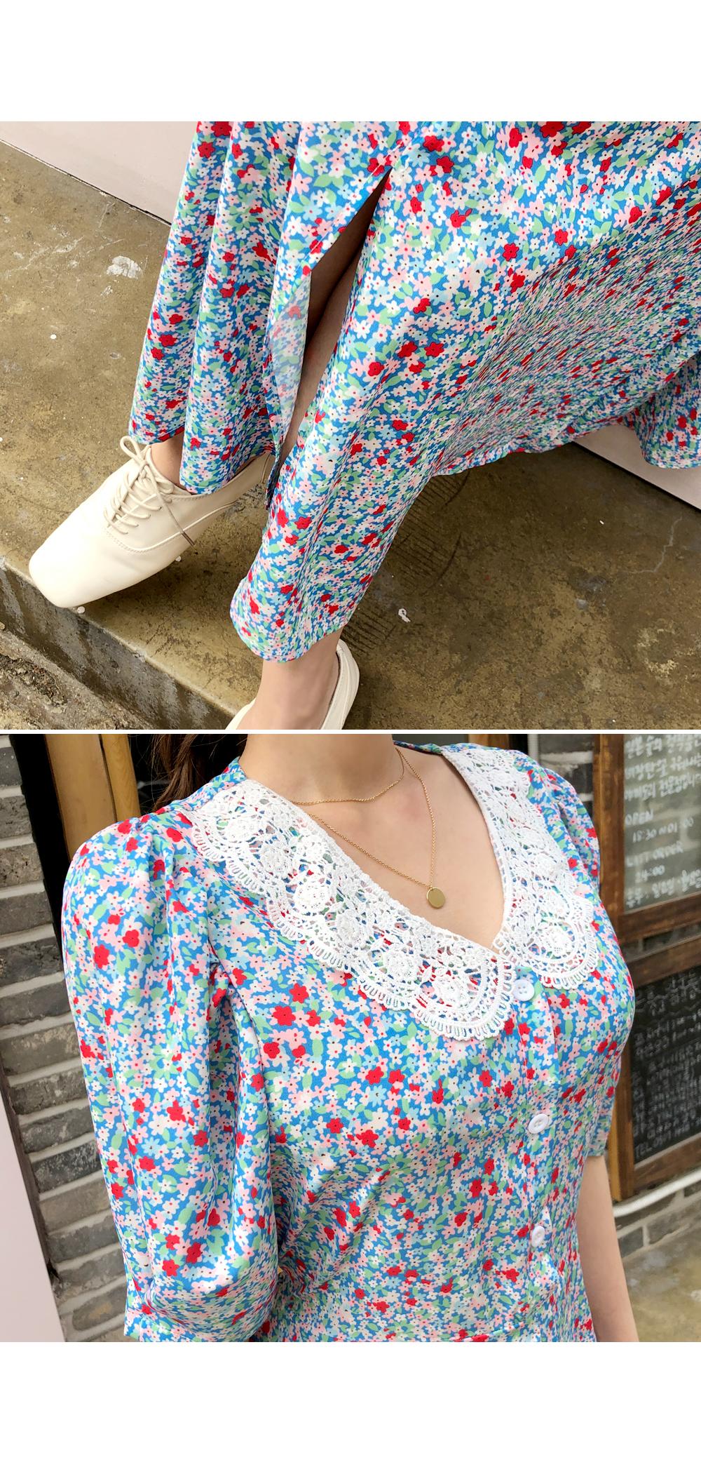 Cute flower lace collar dress
